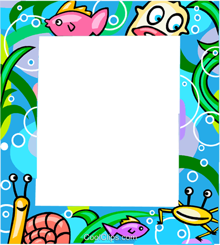 Aquatic themed frame Royalty Free Vector Clip Art illustration vc112273