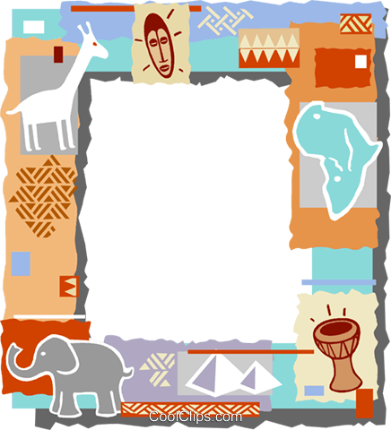 African themed frame Royalty Free Vector Clip Art illustration vc112277