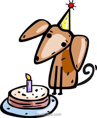 Puppy with his birthday cake Royalty Free Vector Clip Art illustration vc112297