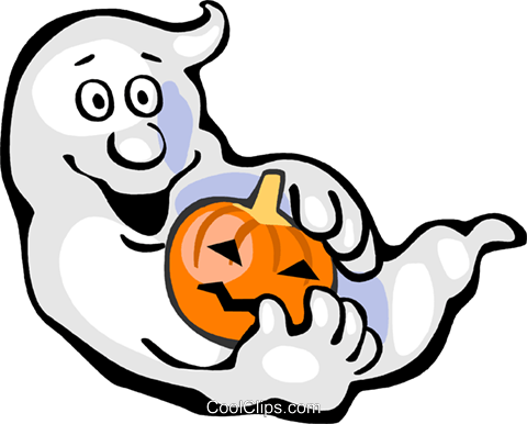 Ghost with jack o lantern Royalty Free Vector Clip Art illustration vc112298