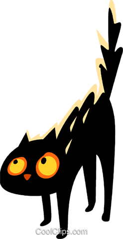 Scared black cat Royalty Free Vector Clip Art illustration vc112309