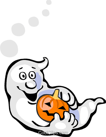 Ghost with a jack o lantern Royalty Free Vector Clip Art illustration vc112314