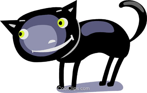 Black cat Royalty Free Vector Clip Art illustration vc112316