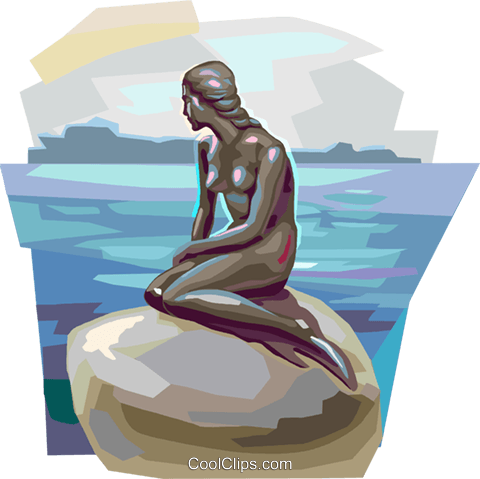 Mermaid on a rock Royalty Free Vector Clip Art illustration vc112337