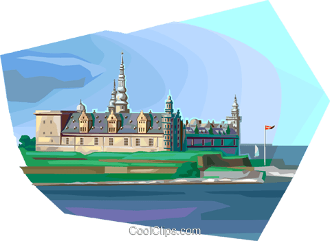 Denmark's Kronborg Castle Royalty Free Vector Clip Art illustration vc112338
