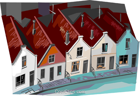 Netherland houses Royalty Free Vector Clip Art illustration vc112348