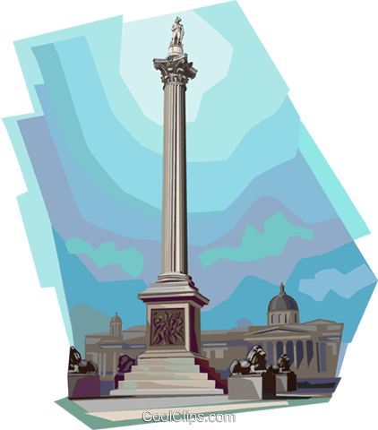 Nelson's Column, United Kingdom Royalty Free Vector Clip Art illustration vc112353