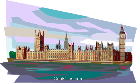 British Parliament Buildings Royalty Free Vector Clip Art illustration vc112355