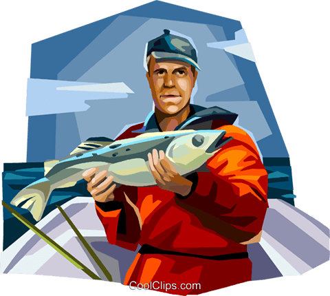 Fisherman displaying his catch Royalty Free Vector Clip Art illustration vc112359