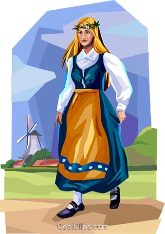 Danish dancer in traditional costume Royalty Free Vector Clip Art illustration vc112361