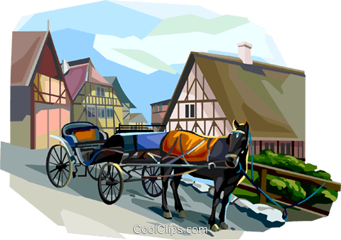 Horse drawn carriage, Denmark Royalty Free Vector Clip Art illustration vc112366