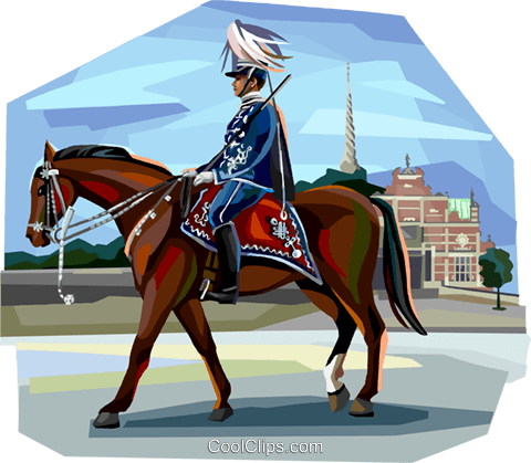 Ceremonial Danish guard on horse back Royalty Free Vector Clip Art illustration vc112368