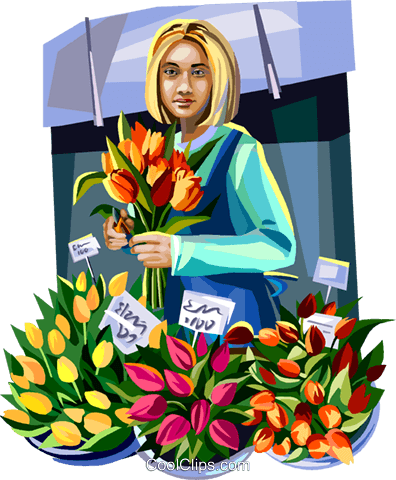 Woman selling flowers Royalty Free Vector Clip Art illustration vc112369