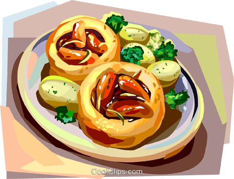 British cuisine, Toad in the hole Royalty Free Vector Clip Art illustration vc112380