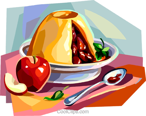 British cuisine, apple pudding Royalty Free Vector Clip Art illustration vc112381
