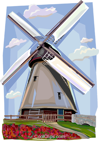 Old windmill, Denmark Royalty Free Vector Clip Art illustration vc112387