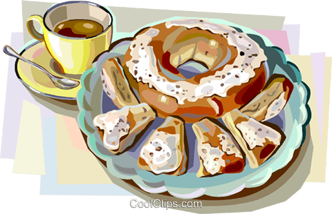 Danish pastry with coffee Royalty Free Vector Clip Art illustration vc112389