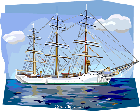 Danish tall ship Skoleskibet Royalty Free Vector Clip Art illustration vc112390