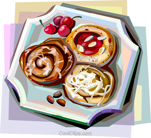 Danish pastries Royalty Free Vector Clip Art illustration vc112391