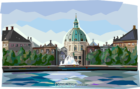 Winter residence of Danish Monarchy Royalty Free Vector Clip Art illustration vc112397