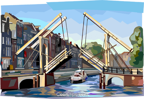 Bridge in Amsterdam Royalty Free Vector Clip Art illustration vc112400
