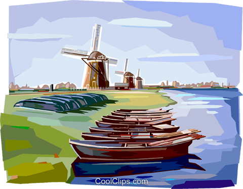 Canal in the Netherlands Royalty Free Vector Clip Art illustration vc112402