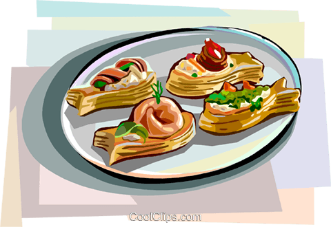 Mini Vol-au-Vent, fish shape desserts Royalty Free Vector Clip Art illustration vc112407