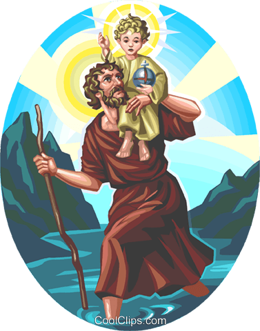 Saint Christopher Royalty Free Vector Clip Art illustration vc113279
