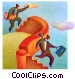 businessmen jumping over a Fine Art graphic