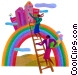 women climbing a ladder Fine Art picture