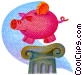 piggy bank on a pedestal Fine Art illustration