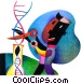 scientist cutting DNA strand Fine Art graphic