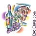 wine bottle with grapes and Fine Art illustration