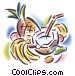mixed fruit with coconut drink Stock Art picture