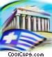 Greek flag with Parthenon Stock Art picture