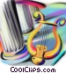 Greek columns with harp Stock Art graphic