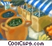 Greek market Fine Art illustration