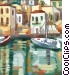 Greek village with boat Stock Art picture