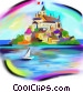 European island village Fine Art illustration