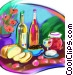 French wine and cheese Stock Art image
