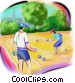 men playing bocce ball Stock Art picture