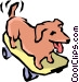 Dog & skateboard Vector Clip Art image