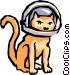 Cat with space helmet Vector Clip Art graphic