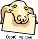 Dog with file folder Vector Clip Art picture