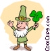 Leprechaun with shamrock Vector Clipart graphic