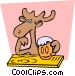 Moose drinking Vector Clip Art graphic