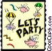 Let's Party Vector Clipart image