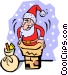 Santa Claus going down the Vector Clip Art graphic
