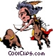 Cartoon Indian on horseback Vector Clip Art picture