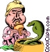 Cartoon snake charmer Vector Clipart picture